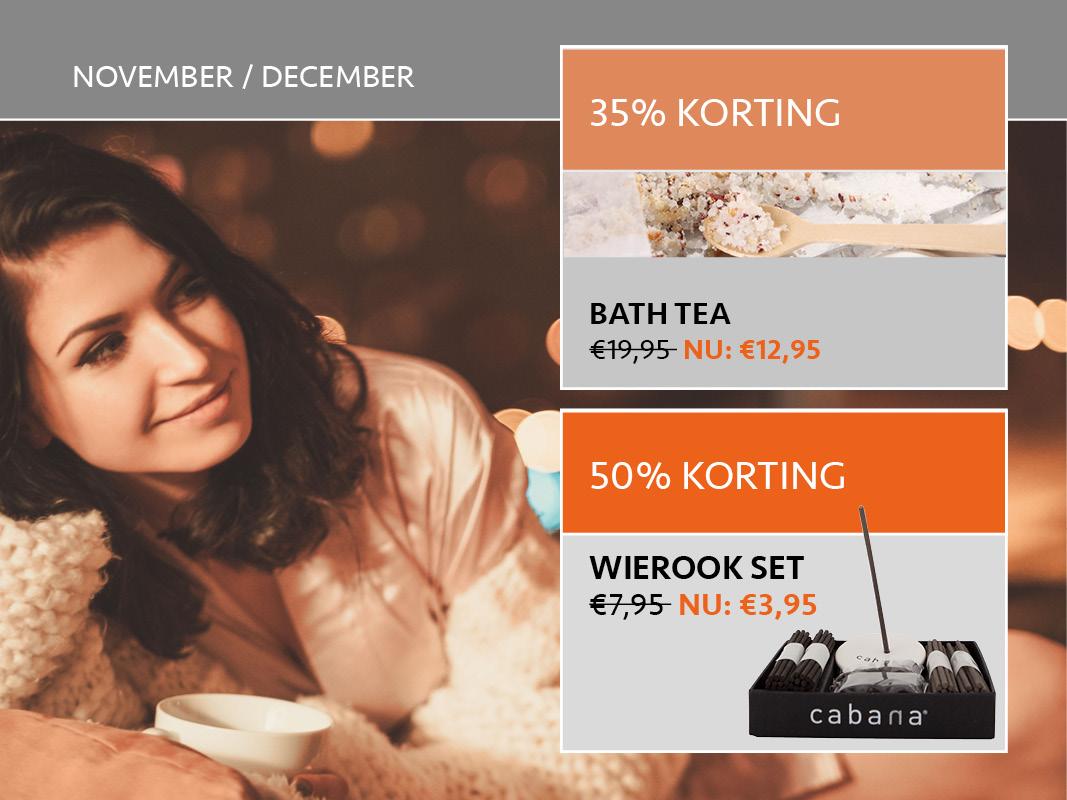 korting 50% 35% wierook bad sale Cabana spa wellness verzorging
